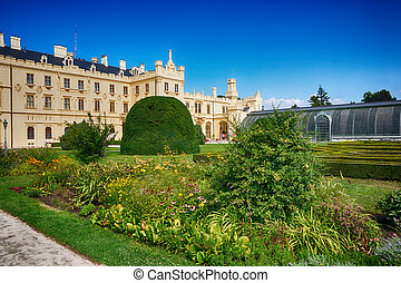 Lednice castle in the summer