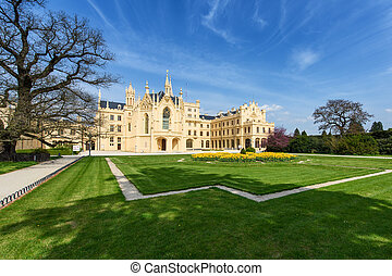 Lednice Chateau on summer day - Lednice Chateau in the...