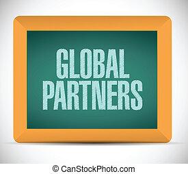 ledsagere, meddelelse, globale, konstruktion, illustration