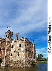 Leeds Castle in island on lake in Kent of UK