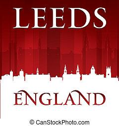 Leeds England city skyline silhouette red background