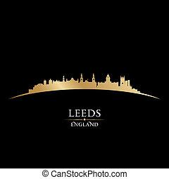 Leeds England city skyline silhouette black background