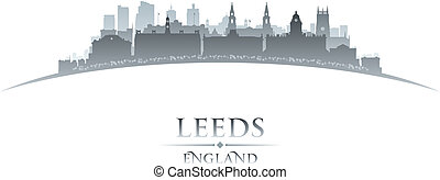 Leeds England city skyline silhouette white background