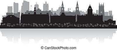 leeds, orizzonte, città, silhouette