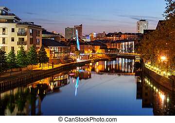 Leeds river Aire - River Aire passing through Leeds quayside...