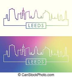 Leeds skyline. Colorful linear style.