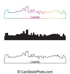 Leeds skyline linear style with rainbow