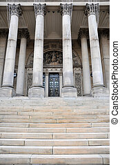 leeds town hall the front entrance with steps and columns, west yorkshire england