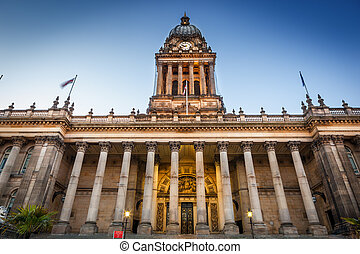 Front view of leeds town hall which was built in 1858. Image no 218.