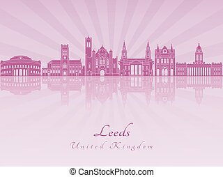 Leeds V2 skyline in purple radiant orchid