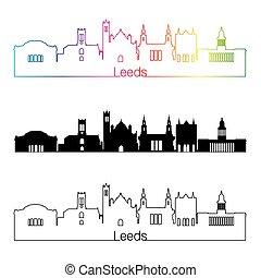 Leeds V2 skyline linear style with rainbow