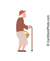 leeftijd, plat, illustration., witte , oldness, seniliteit, ...