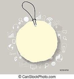 leeg, aantekening, papieren, gereed, voor, jouw, message., vector, illustratie