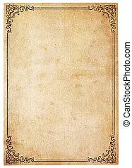 leeg, antieke , papier, met, ouderwetse , grens