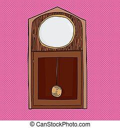 leeg, antieke staande klok, gezicht