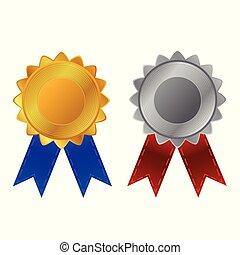 leeg, badge, gouden, en, chroom, met, blauw en rood, lint
