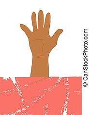 leeg, banner., hand., kleur, vector, poster