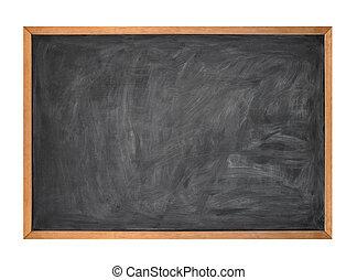 leeg, black , school, krijten plank, op wit