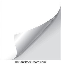 leeg blad, van, papier, met, pagina, krul