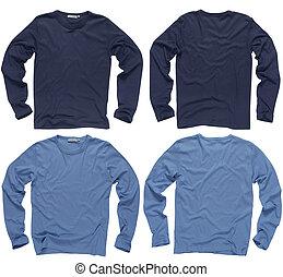 leeg, blauwe , lange mouw, overhemden