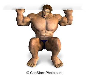 leeg, bodybuilder, rand, het tilen, meldingsbord