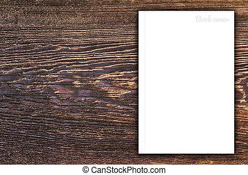 leeg boek, of, magazine, dekking, op, hout, achtergrond