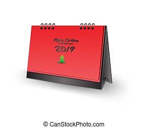 leeg, bureau kalender, 3d, mockup, vector, illustratie, verticaal, realistisch, mockup, voor, bureau kalender, mal, ontwerp, zalige kerst, en, gelukkig nieuwjaar, 2019, dekking, rode achtergrond, vrijstaand, kerstboom