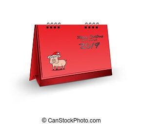 leeg, bureau kalender, 3d, mockup, vector, illustratie, verticaal, realistisch, mockup, voor, bureau kalender, mal, ontwerp, zalige kerst, en, gelukkig nieuwjaar, 2019, dekking, rode achtergrond, vrijstaand, zwijnen, santa claus