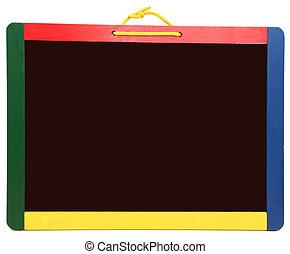 leeg, chalkboard, kleurrijke, vrijstaand