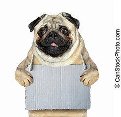 leeg, dog, meldingsbord