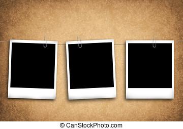 leeg, foto lijst in, op, een, grungy, achtergrond