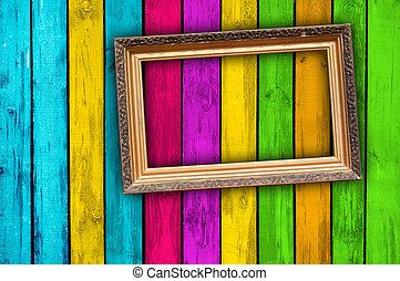 leeg, frame, hout, achtergrond, veelkleurig
