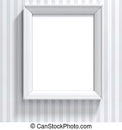 leeg, frame, op, ouderwetse , muur