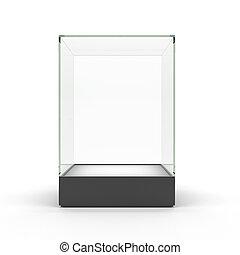 leeg glas, vitrine, voor, tentoonstellen, vrijstaand