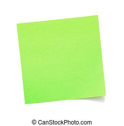 leeg, groene, aantekening, kleverig