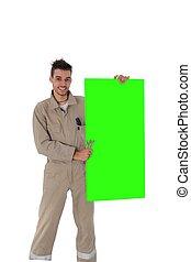 leeg, groene, plank, vakman, vasthouden