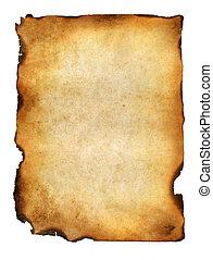 leeg, grunge, aangebrand, papier, met, donker, adust,...