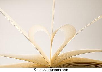 leeg, hart, boek, pagina's, vormen