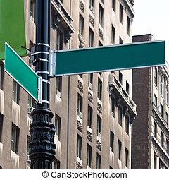 leeg, hoek, straat tekeent