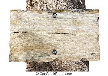 leeg, hout, boompje, vrijstaand, meldingsbord