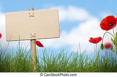 leeg, houten, meldingsbord, en, groen gras, met, klaprozen, bloemen, blauwe hemel, en, vaag, wolken, voor, tekst