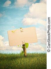 leeg, houten, meldingsbord, en, natuurlijke , achtergrond