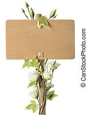leeg, houten, meldingsbord, met, groene, rozen, bloemen