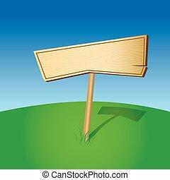 leeg, houten, meldingsbord, (vector)