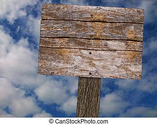 leeg, houten, ondertekenen plank