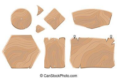 leeg, houten raad, van, gevarieerd, gedaantes, verzameling