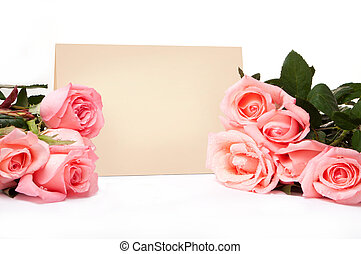 leeg, kaart, voor, gelukwens, met, rozen