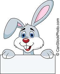 leeg, konijn, meldingsbord