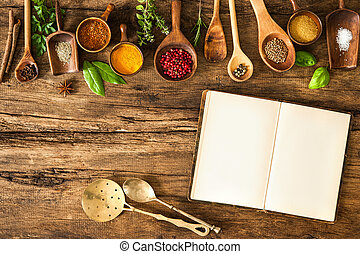 leeg, kruiden, cookbook