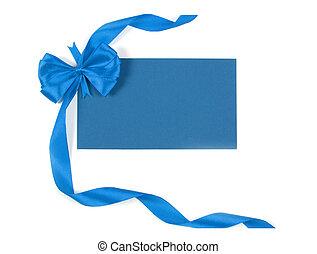 leeg, label, gebonden, geschenk buiging